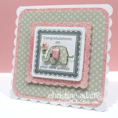 Creating with Christine - CTMH dotty for you baby card --polka dot sides!!! Here I added some Baby Pink cardstock (embellished with Prisma Glitter) with the Grey Flannel polka dot papers.   She paper pieced the elephant, and ear - added an opaque pearl for the eye and one of the Bitty Buds sparkle flowers.