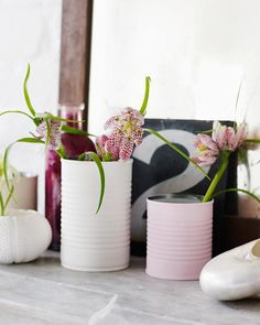 Matte Painted Tin Can Vases
