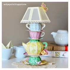 Alice in Wonderland/Anthropologie inspired teapot/cup lamp using SVG Cuts files. Alice In Wonderland Teapot, Paper Tea Cups, Fun Crafts, Paper Crafts, Tea Party Baby Shower, Fancy Nancy, Quilling Patterns, Mad Hatter Tea, Shabby