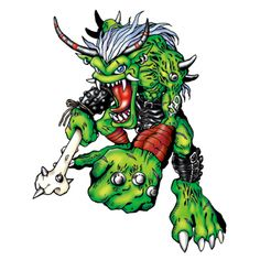 "Ogremon - ""Digimon Hunter"", Champion level Ogre/Evil digimon;  wields a bone club said to be the femur of a slain SkullGreymon, and his arch-nemesis is Leomon"