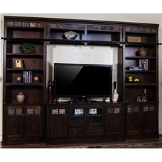 Santa Fe 60-Inch TV Wall Unit with African Slate Inlays by Sunny Designs Part of the Santa Fe Collection