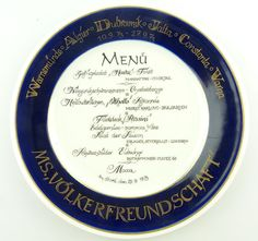 #e2555 Original alter DDR Menu Ehrenteller /Andenkenteller Völkerfreundschaft