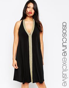 ASOS CURVE Crepe Swing Dress with Gold Trim