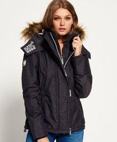 Superdry Hooded Fur Sherpa Wind Attacker Jacket Grey