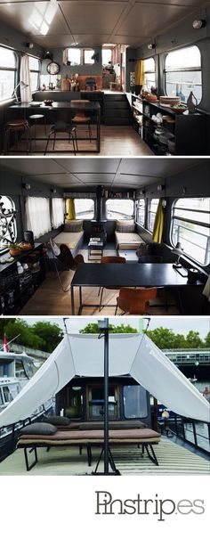Living on a redesigned old small barge on the Seine River. French houseboat living, yes please. Living On A Boat, Tiny Living, Living Spaces, Barge Interior, Boat Interior, Mini Loft, Cabana, Motorhome, Houseboat Living