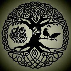 Jul 2015 - Inspiration for Justin Petitt's Tattoo. See more ideas about Yggdrasil tattoo, Celtic art and Celtic tree of life. Yggdrasil Tattoo, Norse Tattoo, Celtic Tattoos, Tibetan Tattoo, Celtic Symbols, Celtic Art, Celtic Raven, Hugin Munin Tattoo, Symbole Viking
