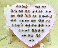 Women Ear Wholesale Mixed Color Metal&Resin Stud Earrings Heart Shape Plastic Box Packing,36Pairs/box Kawaii Earring For Ladies