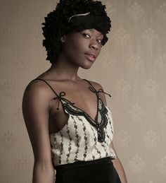 Black Vine print Cotton Cami with Black Rochelle by AliciaZenobia, $28.00