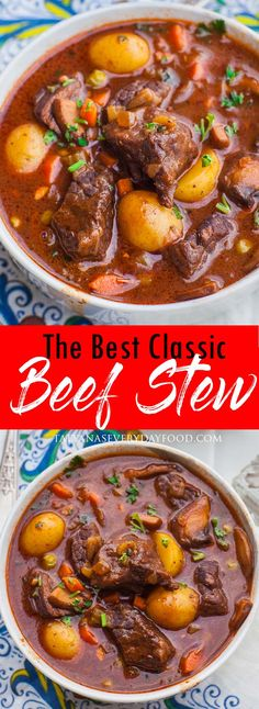 The Best Ever Beef Stew (video) - Tatyanas Everyday Food Although the cassero. The Best Ever Beef Best Beef Stew Recipe, Beef Recipes, Soup Recipes, Dinner Recipes, Cooking Recipes, Healthy Recipes, Best Beef Stew Ever, Vegetarian Cooking, Easy Cooking