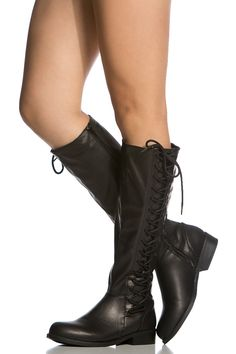 Black Faux Leather Knee High Boots @ Cicihot Boots Catalog:women's winter boots,leather thigh high boots,black platform knee high boots,over the knee boots,Go Go boots,cowgirl boots,gladiator boots,womens dress boots,skirt boots.