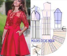 A analise de forma correta do desenho da transformação do molde de vestido vermelho é fundamental para poder fazer a leitura do trabalho de forma correta. Este passo é importante para entender o proce