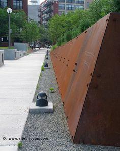 corten steel retaining wall in chicago Steel Retaining Wall, Retaining Wall Steps, Garden Retaining Wall, Sloped Garden, Landscape And Urbanism, Landscape Walls, Urban Landscape, Landscape Design, Flood Wall