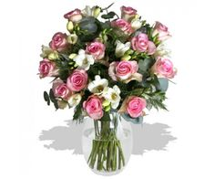 Fondest Affections  Beautiful pink roses and pure white freesias make a sensual, fragrant combination - perfect for demonstrating your love, appreciation and affection. Completed with lovely grey-green eucalyptus foliage and gentle fronds of tree-fern, this classic hand-tied bouquet is suitable for every occasion.