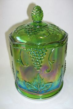 Vintage Indiana Covered Glass Canister in Iridescent Green Grape Carnival Bowl