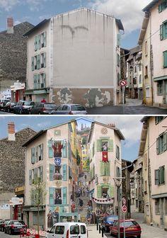 Langweilige, kahle Wände werden in Frankreich mit prachtvollen Wandmalereien verschönt! Wirklich wunderbar! - DIY Bastelideen