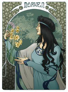 Morwen Eledhwen. She was the daughter of Baragund of the House of Bëor and cousin of Rían. She was married to Húrin and was the mother of Túrin Turambar and Nienor Níniel. Her name in Tolkien's invented language of Sindarin translates to 'Dark Maiden', but she was also often called Elfsheen or Eledhwen