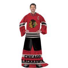 Chicago Blackhawks NHL Adult Uniform Comfy Throw Blanket w/ Sleeves