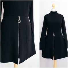Vintage 1970's Mod Black Long Sleeve Go Go Dress by LAPraxis on Etsy