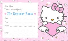 printable cute hello kitty printable birthday invitations