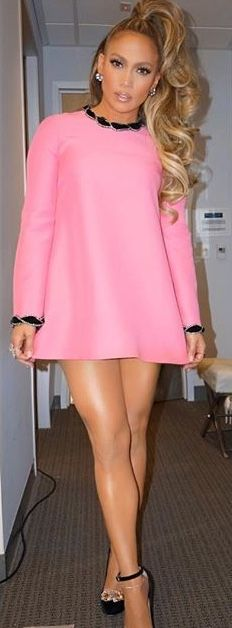 e39e349c3f0 Jennifer Lopez in pink Gucci velvet trimmed dress.