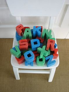 Blocks Children Toy Plastic Letters Alphabet by vintagejane, $22.00