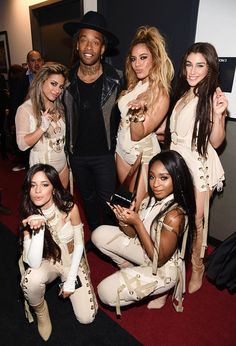 """Fifth Harmony and Ty Dolla $ign with the Collaboration of the Year award backstage during the 2016 American Music Awards at Microsoft Theater on November 20, 2016 in Los Angeles, California. """