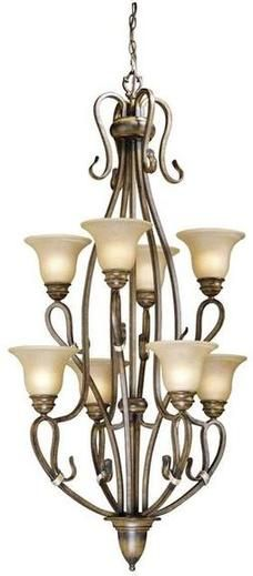 Aged Berkeley 8Lt. 2Tier Chandelier