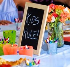 little tin buckets  rustic wedding kids table - Google Search