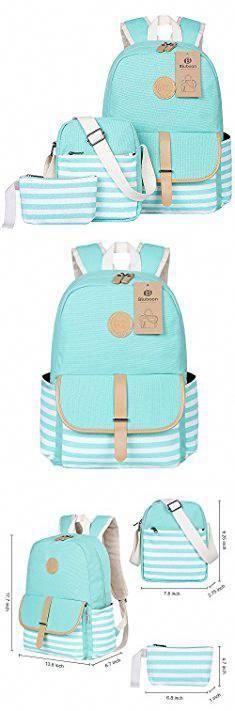 1ed2f0f240682 BLUBOON Teens Canvas Backpack Girls School Bags Set