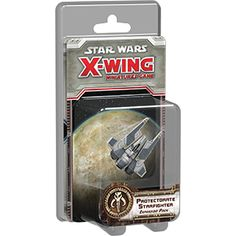 """Also known as the """"Fang fighter,"""" the Protectorate starfighter was a fast and sleek Mandalorian craft custom-built for fighter combat. The Protectorate Starfighter Expansion Pack brings this aggressive ship to X-Wing™ as one of the most potent – and most deceptively simple – vessels in the Scum and Villainy fleet ..."""