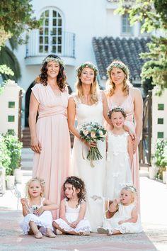 Bridesmaids in blush. Flower girls in rustic white. Hummingbird Wedding Dress. Fairytale wedding. Bohemian Whimsical. Natural. Outside. Spain. Photography : Anna Gazda Read More on SMP: http://www.stylemepretty.com/destination-weddings/spain-weddings/2016/05/11/fairytale-romance-custom-gown-epic-bohemian-celebration/  Photography : Anna Gazda Read More on SMP: http://www.stylemepretty.com/destination-weddings/spain-weddings/2016/05/11/fairytale-romance-custom-gown-epic-bohemian-celebration/