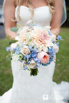 bouquet of cafe au lait dahlias, roses, garden roses, blue hydrangea, and delphinium. The PERFECT set of colors for a bouquet Blue And Blush Wedding, Blue Wedding Flowers, Bridal Flowers, Floral Wedding, Wedding Colors, Bridal Bouquets, Blue Flowers, Dahlia Wedding Bouquets, Trendy Wedding