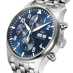 Pilot's Watch Chronograph (metal strap) is available to purchase online. Iwc Watches, Watches For Men, Iwc Pilot Chronograph, Luxury Watches, Dream Watches, Elegant Watches, Watch Companies, Stainless Steel Bracelet, Bracelet Watch