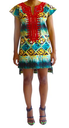 Embroidered Shift Dress Aztec Green