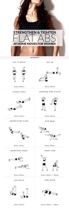 Flatten your belly, burn fat and strengthen your core with these killer tummy toning exercises. This flat abs workout routine for women combines cardio and strength training moves to boost your metabolism and get the most out of the time you spend working out. www.spotebi.com/...