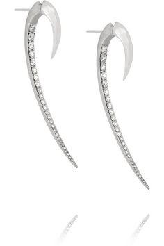 Shaun Leane Hook 18-karat white gold diamond earrings