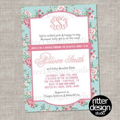 Shabby Chic Flower Floral Baby Shower With Monogram Invitation - Printable Digital File  for matching thank you card click here -- https://www.etsy.com/listing/187722067/shabby-chic-flower-floral-baby-shower  *This is a Custom Digital/Printable Design Only* [ printing is available, message me for prices ]  My invites are unique and fully customized to your desire. Colors, Fonts, Wording, # of Photos, etc Can Be Changed Upon Request. The Designs will be made in 4x6 or 5x7 size unless you ask…