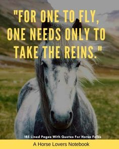 """A Horse Lovers Notebook: """"For one to fly, one needs only to take the reins"""" - 185 Lined Pages With Quotes For Horse Folks Equestrian Quotes, Lined Page, Folk, Notebook, Lovers, Horses, My Love, Printable, Poster"""