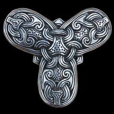 """B98 Trefoil Brooch  Copied from an original find from Denmark, in the late 9th – early 10th century Borre style.  Widest measurement 42mm, 1 ¾""""  Material:  Bronze 42,00 EUR  Silver 95,00 EUR"""