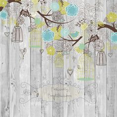 CHEAPEST On Etsy 5ft x 5ft Vinyl Photography Backdrop / Floral Trees Hanging Birds