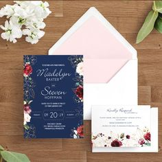 Gold and Floral Painted Flowers Wedding Invitation Sets - Floral Invitations - Botanical Ceremony Invites, Custom Personalized Navy Burgundy from Ivory Isle Designs, affordable wedding stationery Wedding Invitation Samples, Floral Invitation, Invites, Wedding Stationery, Invitation Cards, Colored Envelopes, Painted Flowers, Custom Fonts, Response Cards
