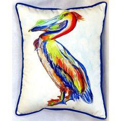 "Betsy Drake Interiors Sylvester Pelican 24"" Indoor/Outdoor Lumbar Pillow"