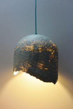 handmade hanging lamp from paper pulp www. Plug In Pendant Light, Chandelier Pendant Lights, Pendant Lamp, Handmade Lamps, Handmade Furniture, Handmade Home Decor, Diy Luminaire, Ikea Lamp, Farmhouse Lamps