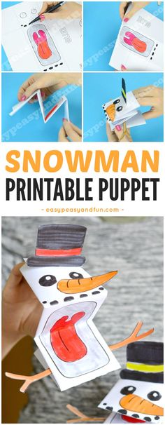 Printable Snowman Puppet Craft for Kids. Fun Winter craft idea for kids to make.
