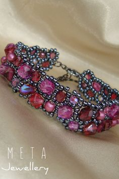 Handmade beaded asymmetric bracelet with different pink magenta glass beads and hematite color seed beads Beaded Jewelry, Beaded Bracelets, Magenta, Seed Beads, Glass Beads, Handmade, Color, Crystal Beads, Hand Made