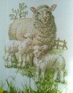 Voorjaar Lambs, Rabbits, Sheep, Stitches, Cross Stitch, Spring, Diy, Painting, Animals