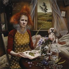 """""""Queen's Court"""" - Andrea Kowch (b. 1986), acrylic on canvas {contemporary figurative symbolist fantasy realism illustrator artist redhead female bees dog flowers window seated woman face portrait painting} Bizarre!! andreakowch.com"""