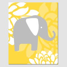Modern Nursery Art - Floral Elephant - 8x10 Print - Choose Your Colors - Shown in Gray, Yellow, Orange, Aqua, Purple, and More. $20.00, via Etsy.