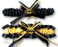 Batman Themed Wedding Garter SET by AussieWeddingGarters on Etsy, $44.00