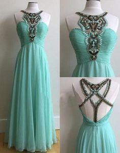 blue chiffon beaded long prom dress, PD45699 #fashion#promdress#eveningdress#promgowns#cocktaildress